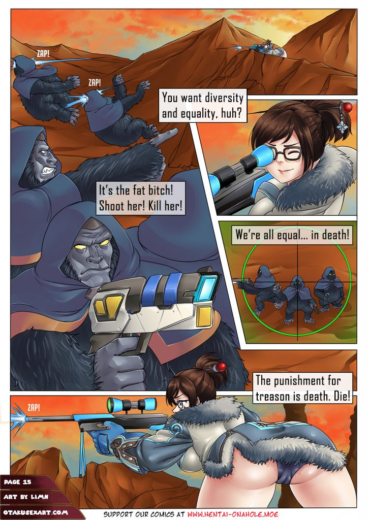 overwatch mei shoots winstons gorilla death cultists with sniper from highground