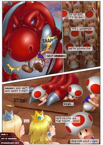 nintendo porn comic princess rosalina and peach saved from mushroom people by big red yoshi